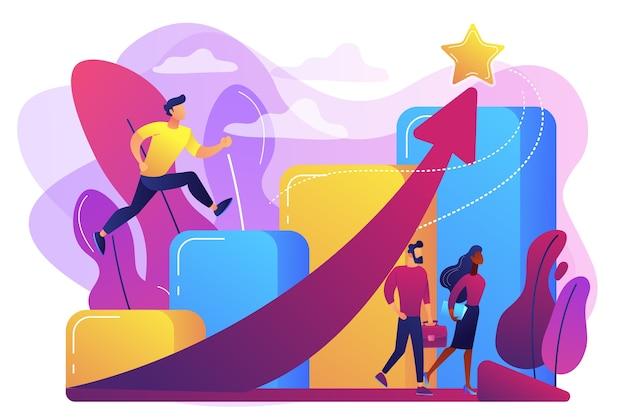 성공적인 사업가 경력 계단을 실행하고 스타에 상승 화살표. 경력 성장, careerbuilder, 경력 개발 개념. 무료 벡터