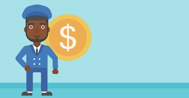 Successful businessman with dollar coin. Premium Vector