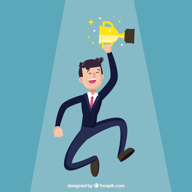 Successful businessman with a trophy Vector | Free Download