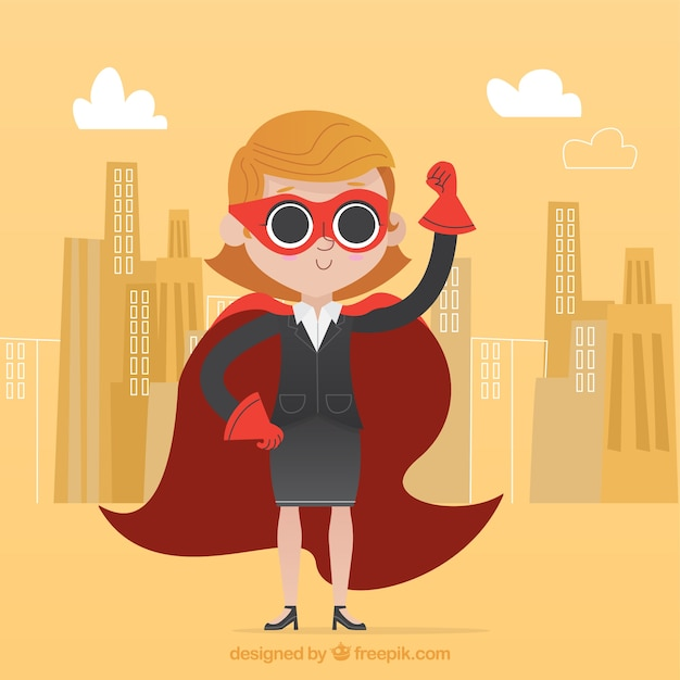 Successful businesswoman with cape and\ mask