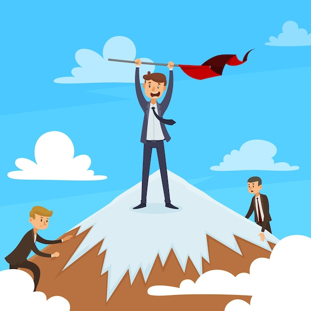 Successful career design concept with winner on mountain top and competitors on blue sky background vector illustration Free Vector