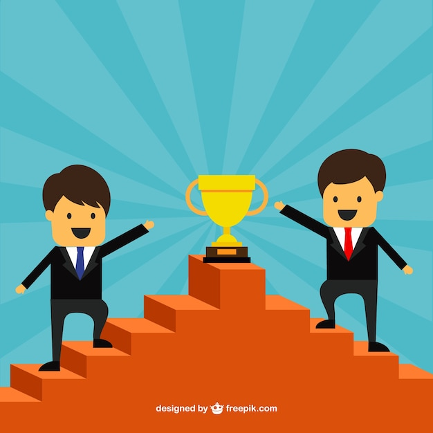 Successful entrepreneurs on the top of a stairs Free Vector