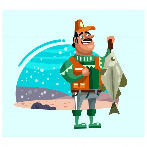 Successful Fishermen Catch Big Fish Cartoon Character Vector