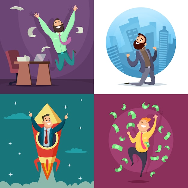 Successful funny and happy businessmen in active poses. Premium Vector