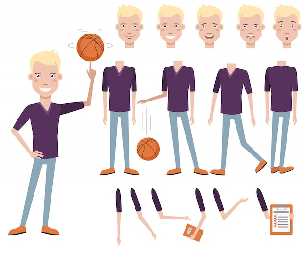 Successful handsome high school basketball player character set Free Vector