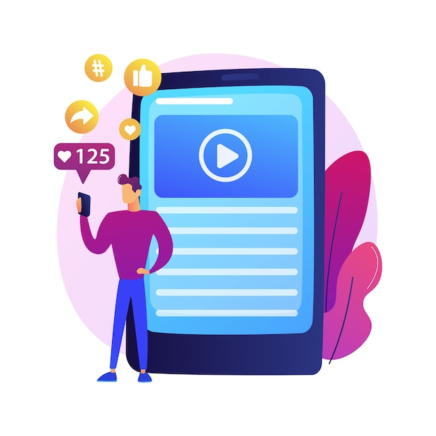 Successful internet marketing. data, applications, e-services, multimedia. social network likes and followers attraction colorful icon. Free Vector