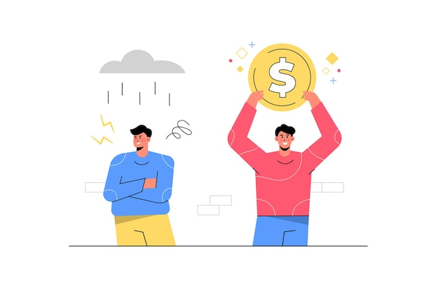 Successful man holding money next to unsuccessful man with rain storm. Free Vector