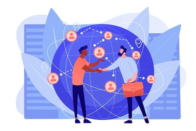 Успешные переговоры о партнерстве, рукопожатие партнеров Бесплатные векторы