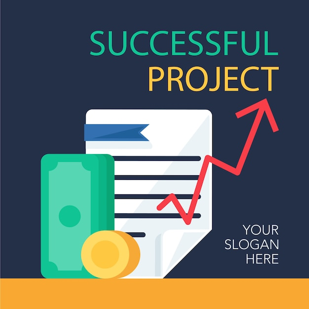 Successful project banner Premium Vector
