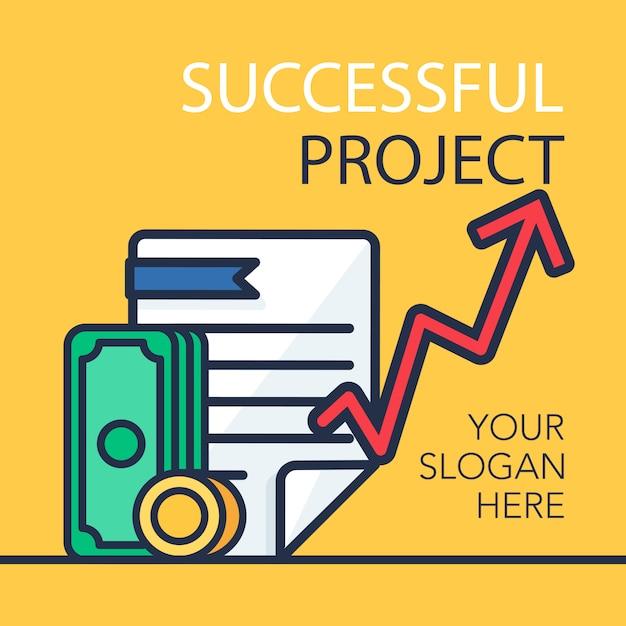 Successful project banner Premium Vector