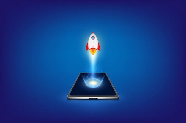 Successful startup business concept. project development. rocket launching from smart phone. Premium Vector