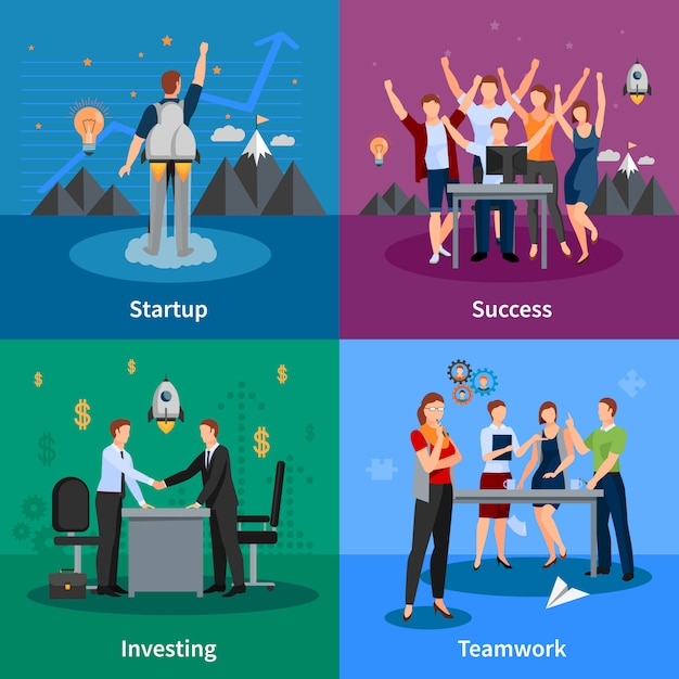 Successful startup concept Free Vector