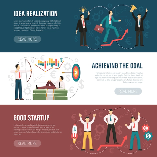 Successful startup flat horizontal banners set Free Vector
