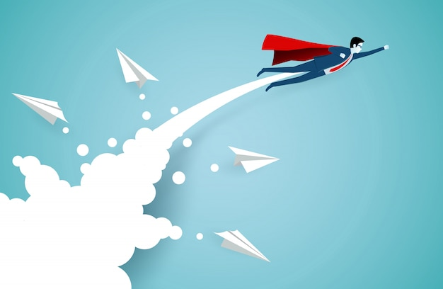 Successful superhero businessmen are flying up into the sky separated from the white paper airplane Premium Vector