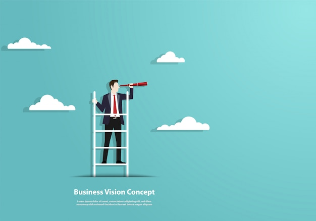 Successful vision with character of businessman and telescope Premium Vector