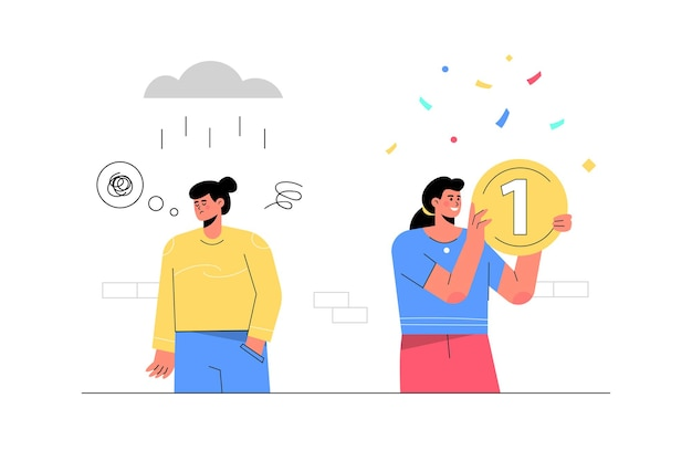 Successful woman holding money next to unsuccessful woman with rain storm. Free Vector