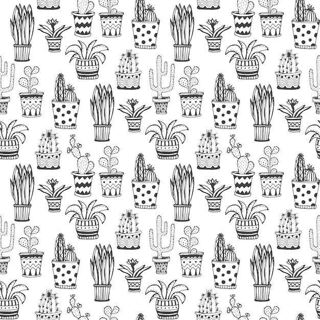 多肉植物のサボテンのパターン。鉢の背景に落書きの花。 Premiumベクター