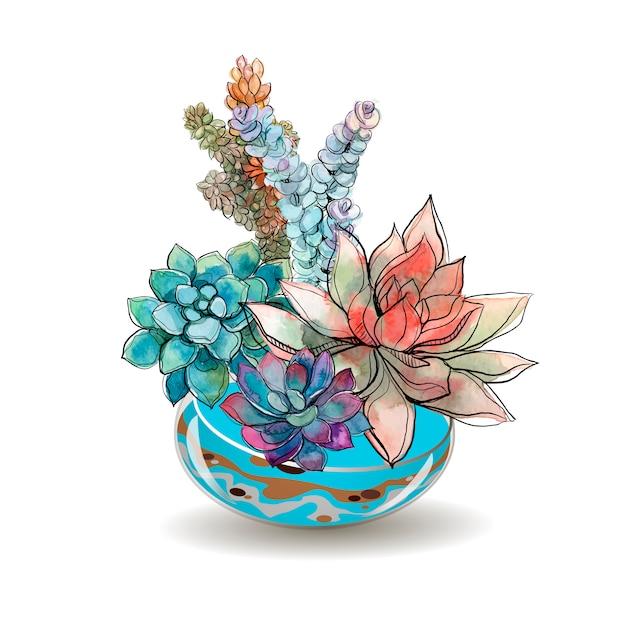 Succulents in glass aquariums. watercolor. Premium Vector