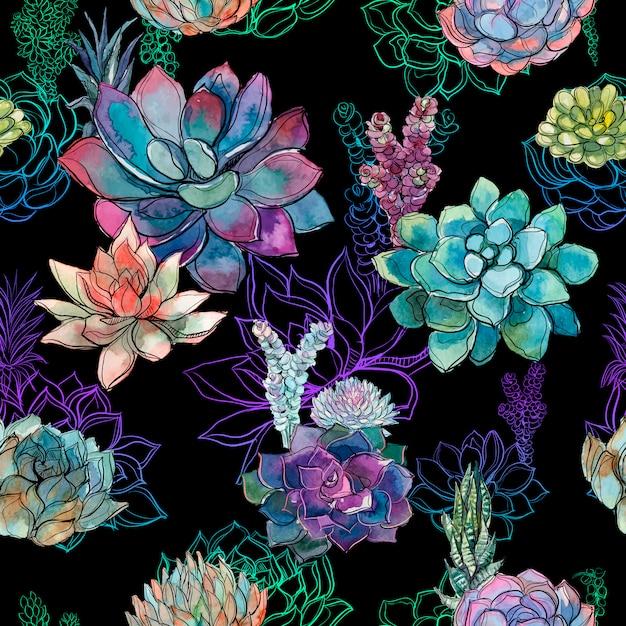 黒背景にsucculentsとシームレスなパターン。 Premiumベクター