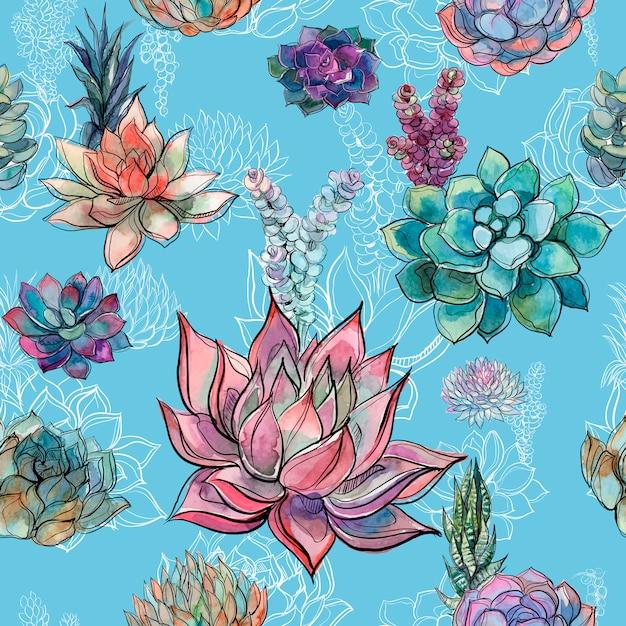 青い背景にsucculentsとシームレスなパターン。 Premiumベクター