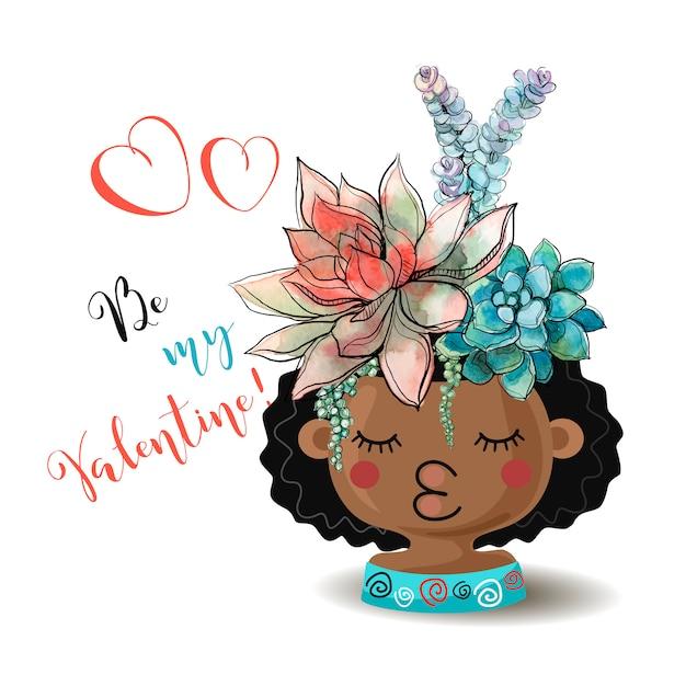 ハッピーバレンタインデー。花のsucculentsと女の子。水彩。 Premiumベクター