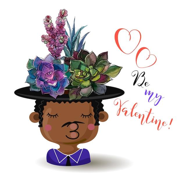 ハッピーバレンタインデー。少年の花succulents。水彩。 Premiumベクター