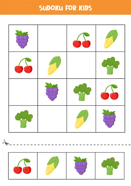 かわいい漫画の果物と野菜を持つ子供のための数独。子供のための論理パズル。未就学児のための頭の体操。印刷可能なワークシート。 Premiumベクター