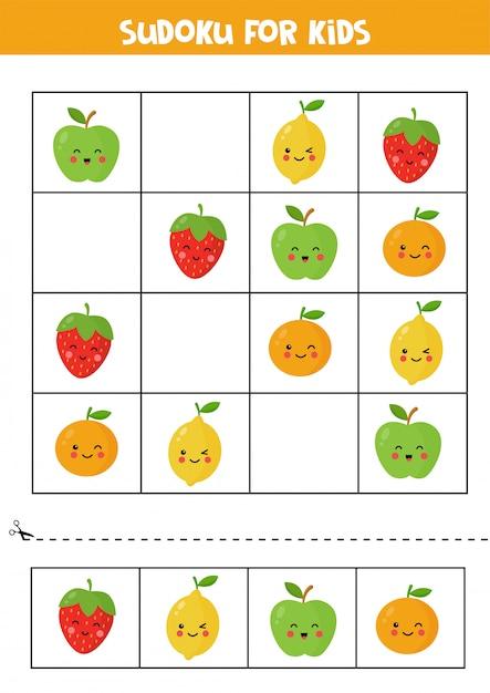 かわいいカワイイりんご、オレンジ、イチゴ、レモンの子供向けの数独。 Premiumベクター