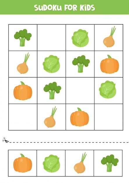 未就学児のための数独ゲーム。かわいい漫画の野菜。 Premiumベクター