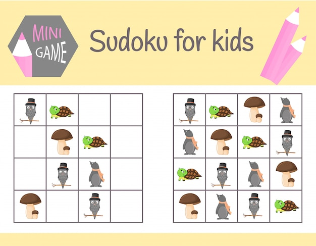 Sudoku game for kids with pictures and animals. learning logic, educational game Premium Vector