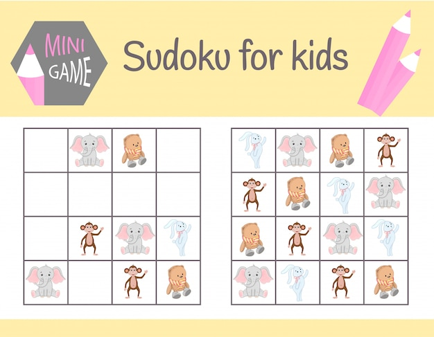 Sudoku game for kids with pictures Premium Vector