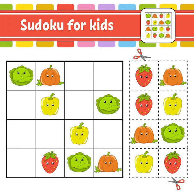 Sudoku for kids Premium Vector