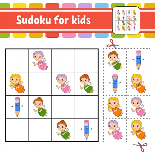 Sudoku for kids. Premium Vector