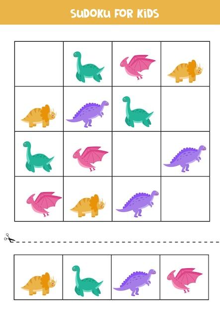 子供のための数独パズルゲーム。かわいいカラフルな恐竜のワークシート。 Premiumベクター
