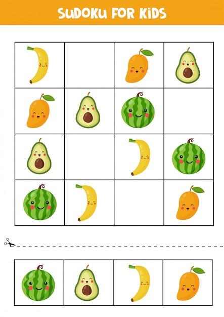 かわいいカワイイフルーツの数独。子供のためのパズル。 Premiumベクター