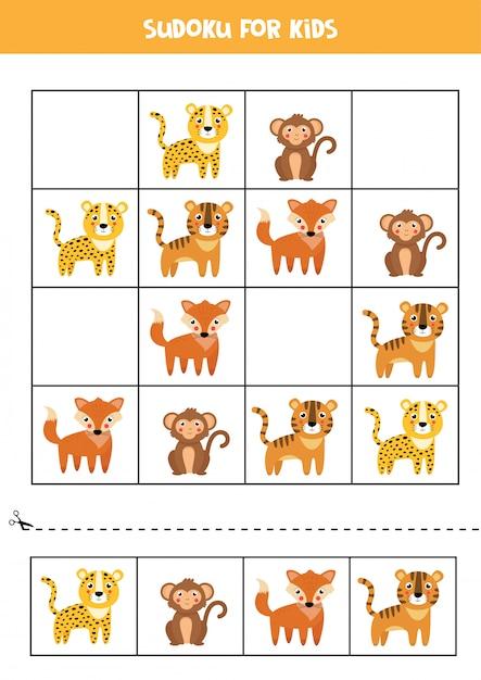 ヒョウ、トラ、サル、キツネと数独。子供のためのパズル。 Premiumベクター