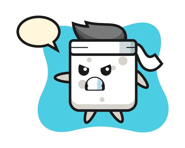Sugar cube cartoon illustration as a karate fighter, cute style  for t shirt, sticker, logo element Premium Vector