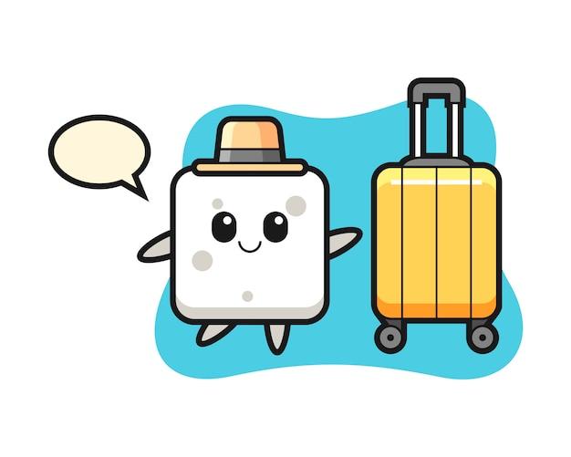 休暇、tシャツ、ステッカー、ロゴの要素のかわいいスタイルの荷物と砂糖キューブ漫画イラスト Premiumベクター