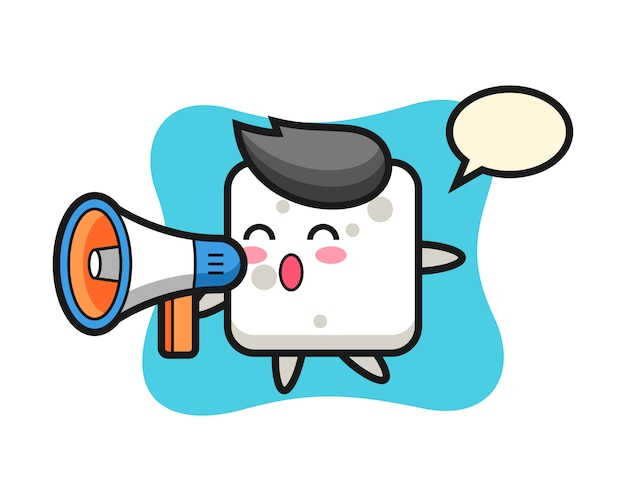 Sugar cube character illustration holding a megaphone, cute style  for t shirt, sticker, logo element Premium Vector