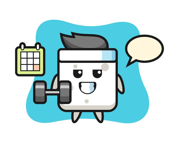 아령, 티셔츠, 스티커, 로고 요소에 귀여운 스타일과 피트니스를하고 설탕 큐브 마스코트 만화 프리미엄 벡터