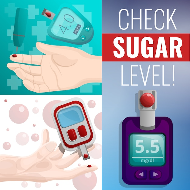 Sugar glucose meter banner set, cartoon style Premium Vector