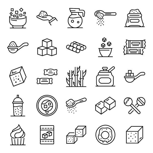 Sugar icons set, outline style Premium Vector
