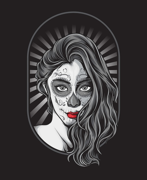Sugar skull girl Premium Vector