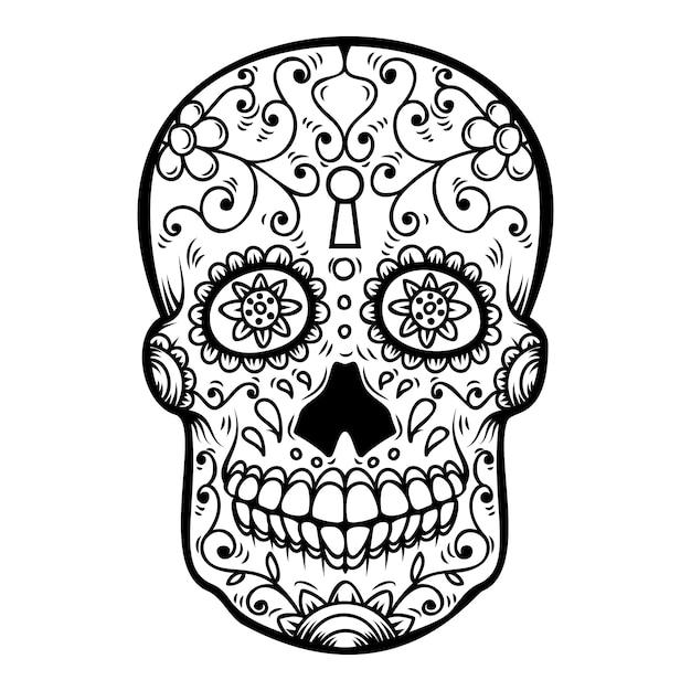 白い背景の上の砂糖の頭蓋骨。死霊のえじき。ディアデロスムエルトス。ポスター、カード、バナー、印刷の要素。図 Premiumベクター