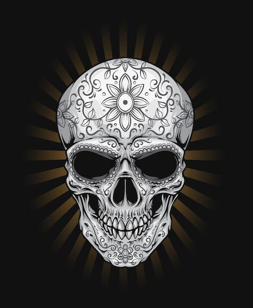 Sugar skull tattoo Premium Vector