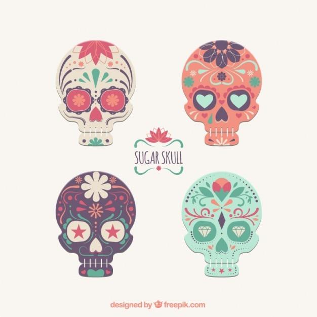 Sugar skulls collection Free Vector
