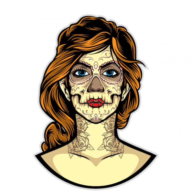 Sugarskull tattoo vector Premium Vector