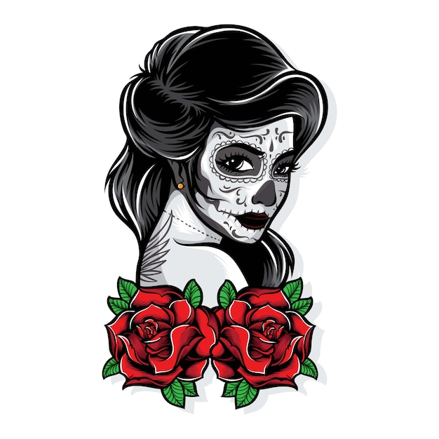 Sugarskull vector with roses Premium Vector