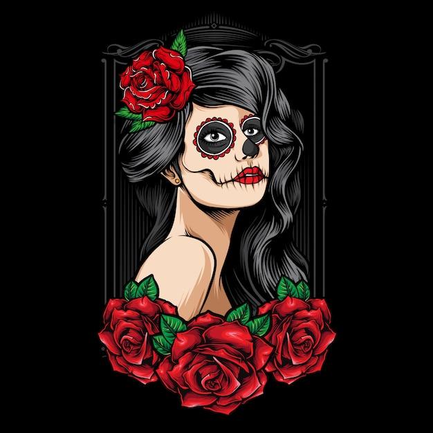 Sugarskull женщины с розами вектор Premium векторы