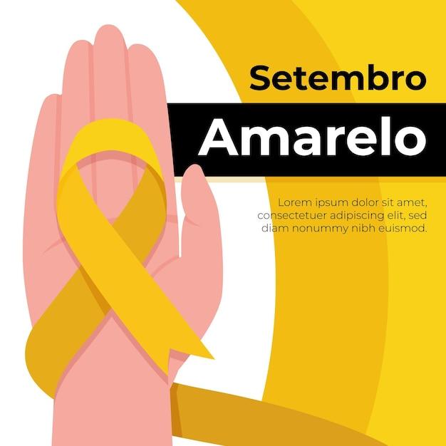 Событие осведомленности о самоубийстве, иллюстрированное желтой лентой Бесплатные векторы